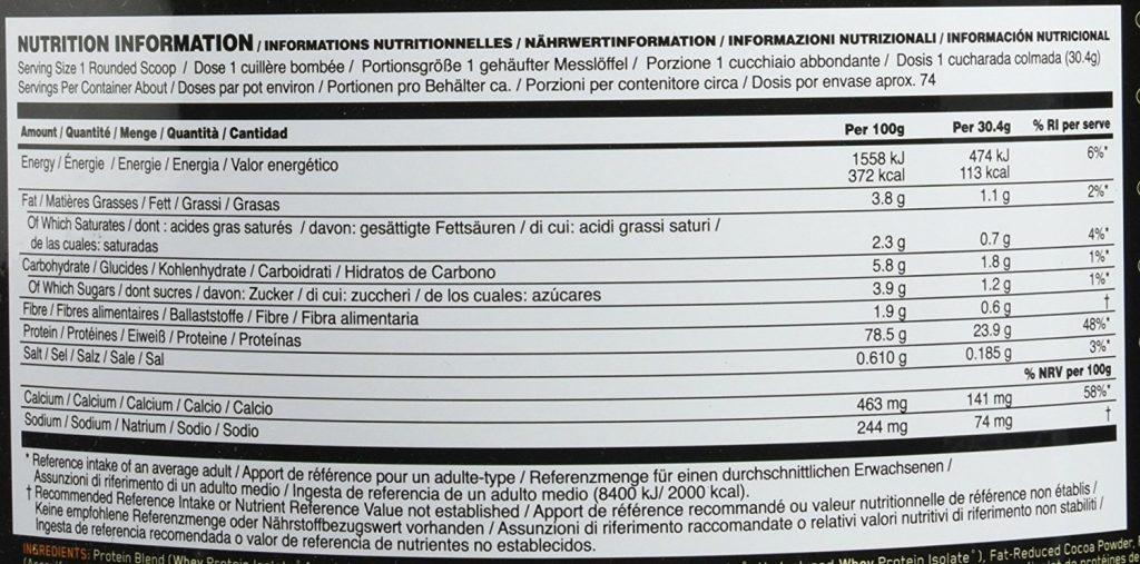 Composition de la Whey Gold Standard d'Optimum Nutrition