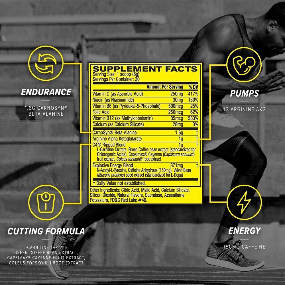 Ingrédients de la poudre pré-entraînement C4 Ripped de Cellucor