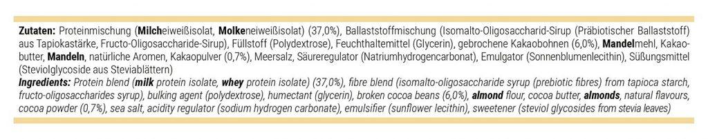 Ingrédients des barres protéinées Foodspring
