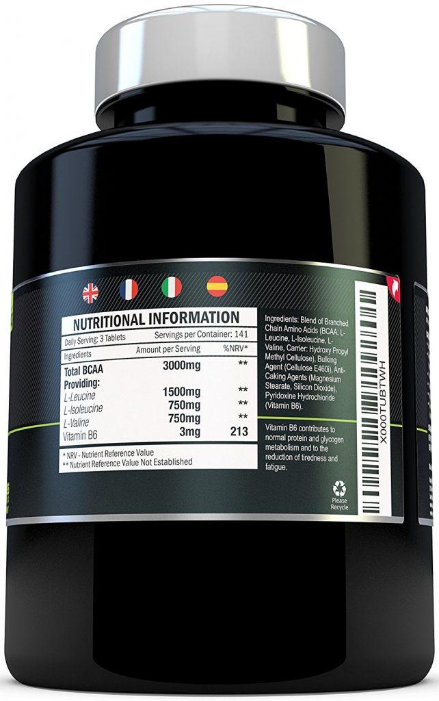 Ingrédients des comprimés BCAA de Xellerate Nutrition
